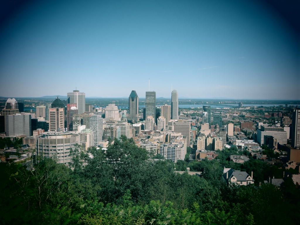 Le centre ville de Montréal vu depuis le belvédère du parc Lafontaine