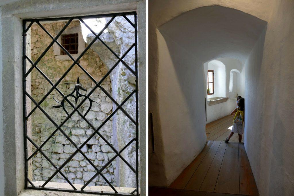 fenetre et couloir dans le chateau de Predjama