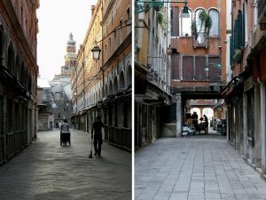 balayeurs et livreurs dans Venise