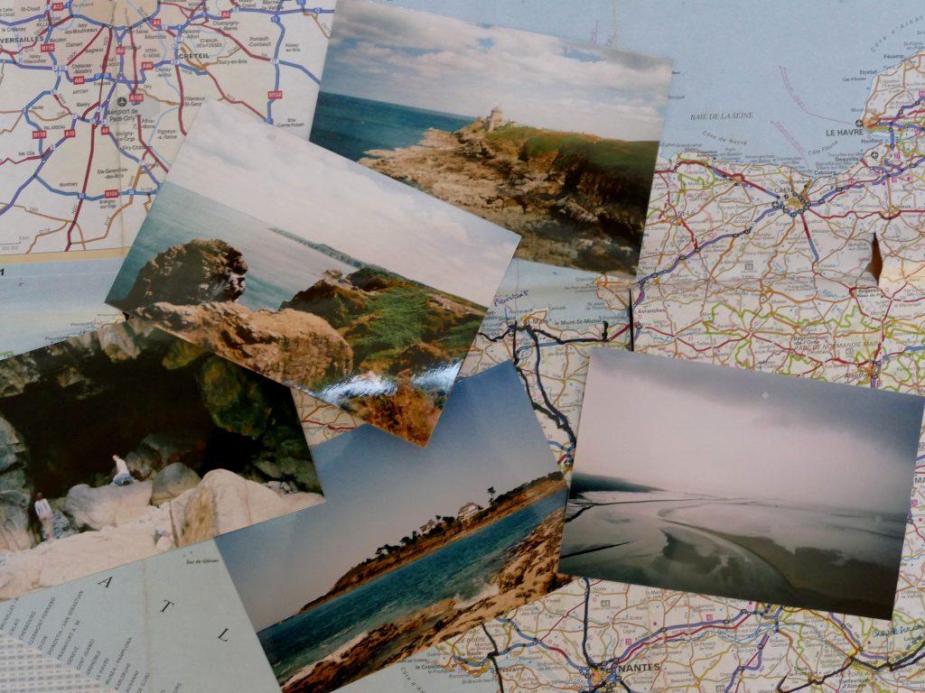 photos de Bretagne posées sur une carte de France