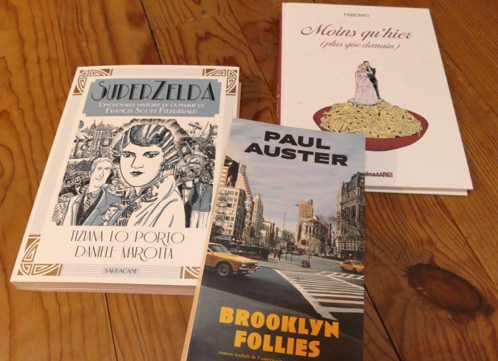 livres : suoer zelda / moins qu'hier / brooklyn follies