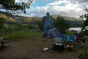 campement au Lower slide lake - Parc national de grand téton - wyoming