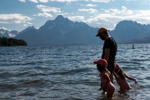 baignade dans le jakson lake - grand téton
