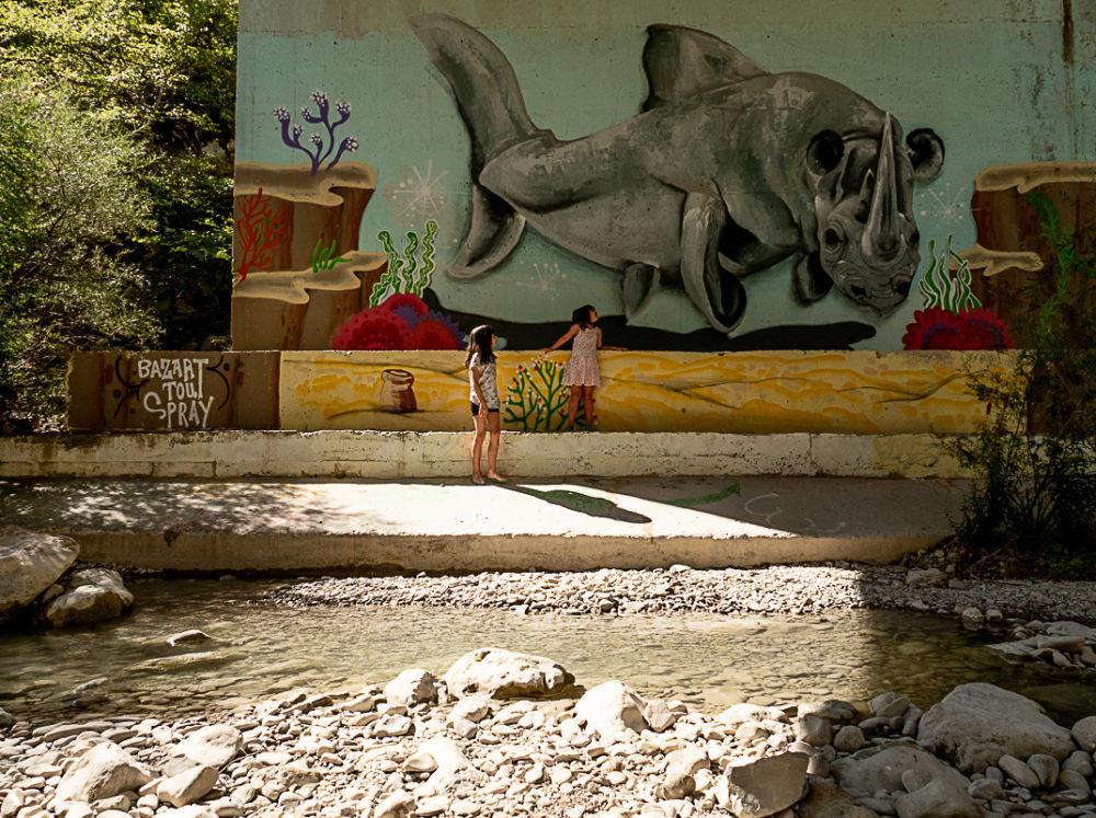 street art sous un pont de l'Ouvèze - Buis les Baronnies